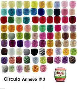 3-x-ANNE-65-Crochet-Soft-Cotton-Yarn-Knitting-Thread-3-195m-Same-Colour-amp-Lot