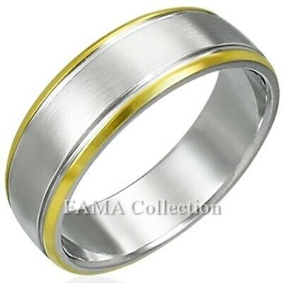 Stylish FAMA Solid Titanium Triple CZ Grooved Wedding Band Ring Size 5-13