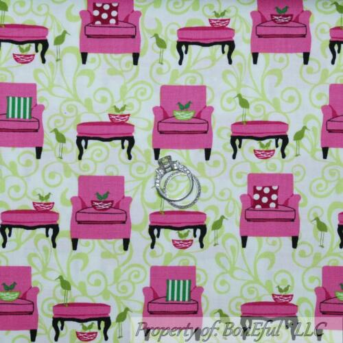 BonEful Fabric FQ Cotton Quilt VTG White Green Pink Flower Leaf Bird Small Chair