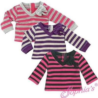 "PINK & GRAY Long Sleeve Stripe T Shirt Top Blouse fit 18"" American Girl Doll"