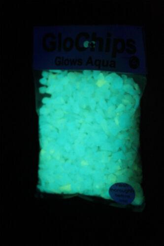 Glow In the Dark GloChips, White glows Aqua -1lb