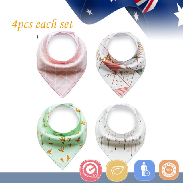 4pcs Baby Bibs Pure Cotton Bandana Feeding Kid Toddler Unisex Gentle Girl Forest