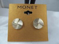 Monet Gold & Dimensional Textured Button Style Earrings, Stunning