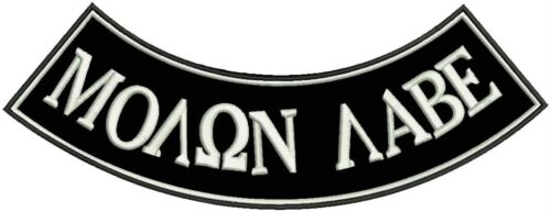 MOλΩN λΑΒΕ White Black Iron Sew on Bottom Rocker Tag Patch for Biker Vest Jacket