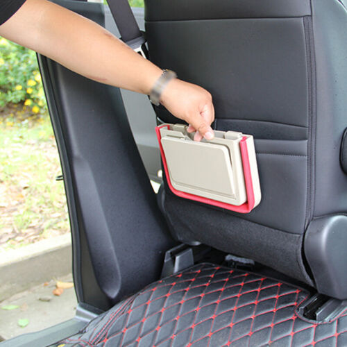 Beige Folding Car Back Seat Table Drink Food Water Cup Tray Holder Stand Desk