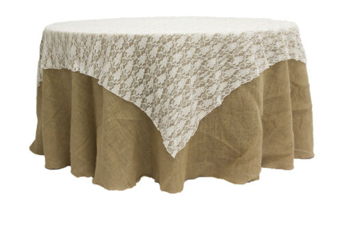 "10 LACE TABLE OVERLAYS 72"" x 72"" SQUARE TABLECLOTHS 3 COLORS 100% POLY USA MADE"