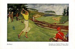 Golfclub Hamburg Falkenstein Kunstdruck 1937 von Rudolf Böttger * Tachau Golf +