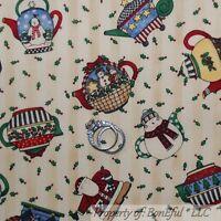 Boneful Fabric Fq Cotton Quilt Tan Red Country Xmas Teapot Bird Snowman Stripe