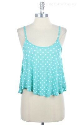 All Over Polka Dot High Low Hem Adjustable Spaghetti Strap Crop Cami Top S M L