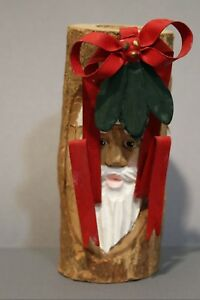 Vintage-Midwest-of-Cannon-Falls-4-034-Wooden-Santa-Candle-Stick-Holder-w-Metal-Bow