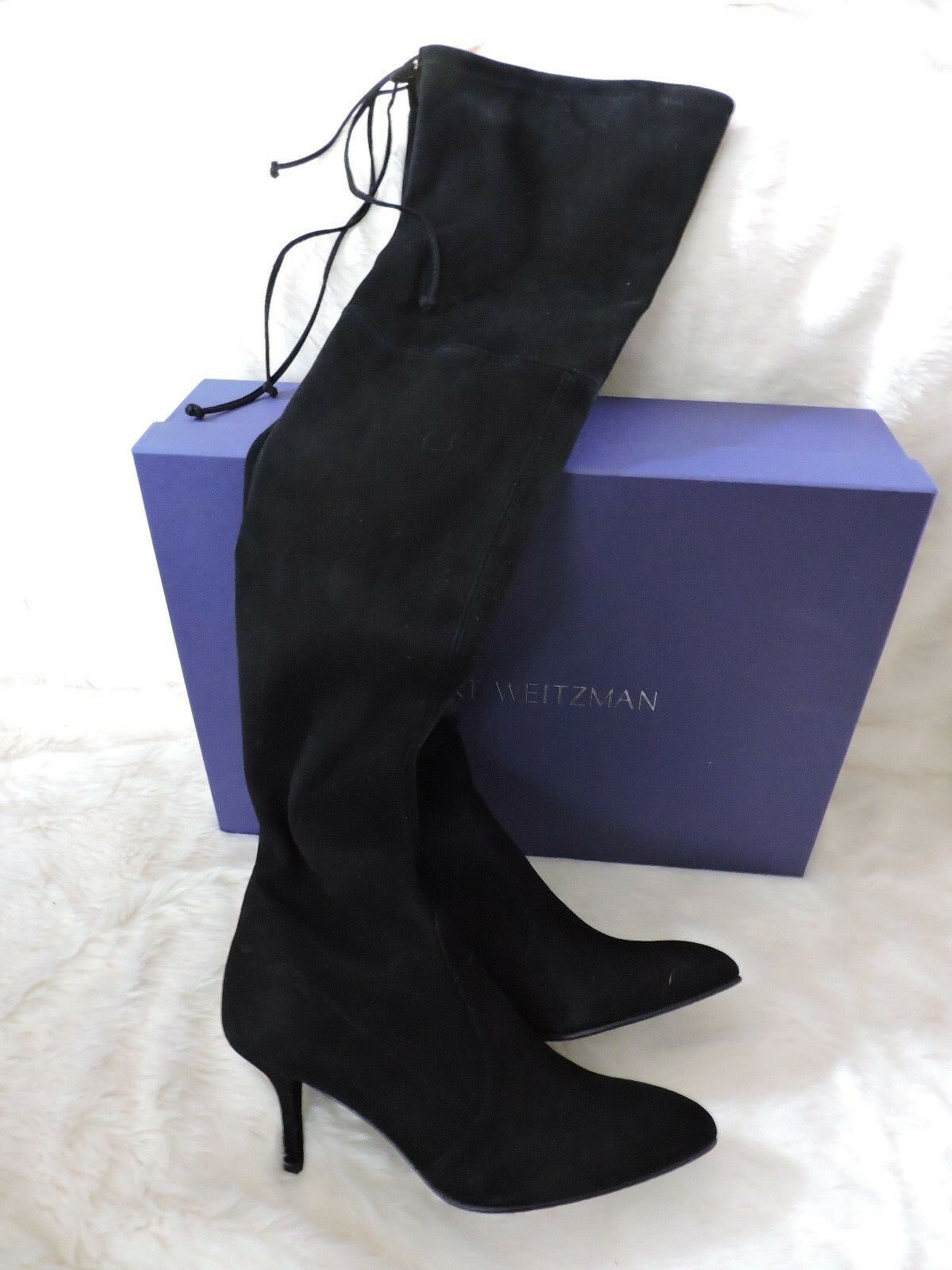 NEW  798 STUART WEITZMAN TIEMODEL BLACK OVER THE KNEE OTK SUEDE STRETCH BOOT 7.5