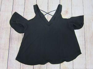 b356b2702b7860 Boohoo Sasha Cold Shoulder V-Neck Woven Top - Womens M L - Black ...
