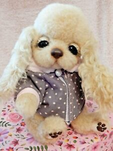 OOAK-Dog-Puppy-Handmade-Artist-Cocker-Spaniel-Mohair-Wool-Toy-Posable-Brand-New