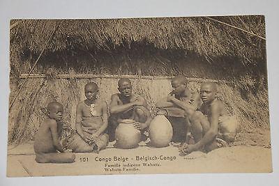 08a60 Cpa Ganzsachen 15 C Kongo Belgisches Belgische 101 Famille Native Wahutu