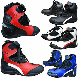Mens-Motorcycle-Boots-Motorbike-Waterproof-Leather-Biker-Short-Boots-All-SIZES
