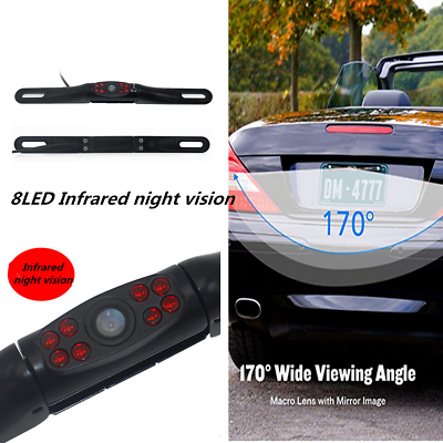Waterproof Car License Plate Reverse Rear View Camera 8led Infrared Night Vision Parts & Accessories