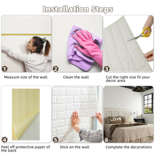 2 to 10 pcs 3D Foam Brick Wall Stickers Panel Peel/&Stick Self-adhesive Wallpaper