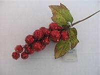 GISELA GRAHAM CHRISTMAS RED GLITTER BERRY/ LEAF CLUSTER DECORATION  X 2