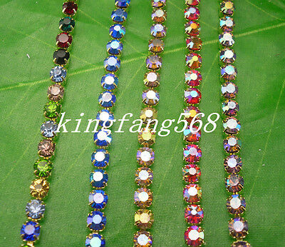 ss6 AB glass 2mm rhinestones compact close golden chain trims Applique 3.6 meter