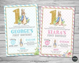 Peter rabbit 1st first birthday invitations invite party supplies image is loading peter rabbit 1st first birthday invitations invite party filmwisefo