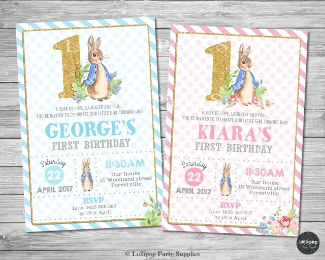 Peter Rabbit 1st First Birthday Invitations Invite Party Supplies