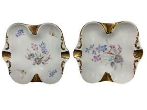 2 EBERTHAL Bavaria W. Germany Porcelain Ashtrays With Gold Trim + Floral Design