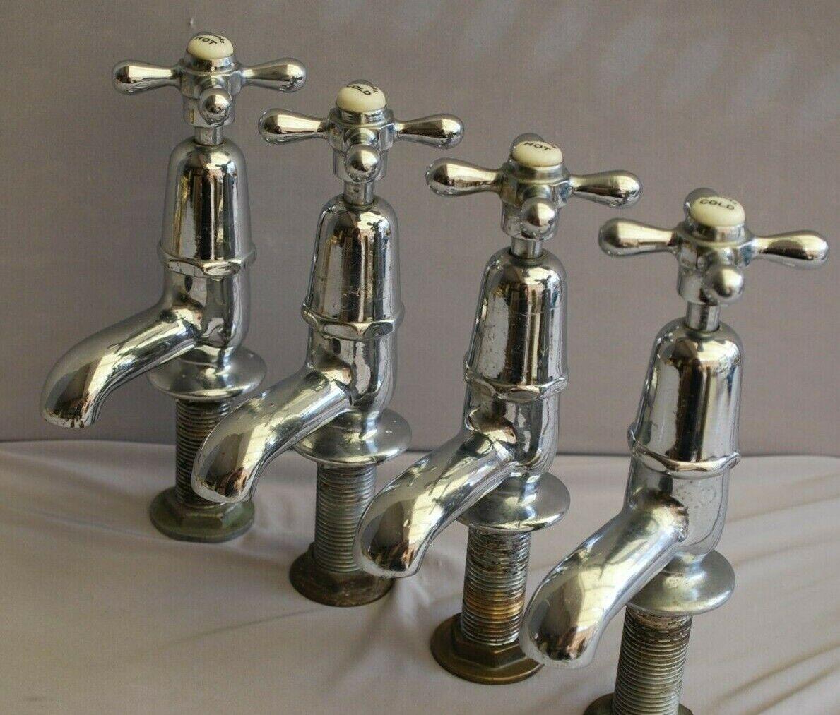 Chrome Rétro bassin robinets Reclaimed & entièreHommest Refurlit (2 paires disponibles)