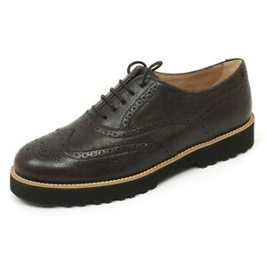 Details about B9506 scarpa inglese donna HOGAN H259 ROUTE francesina marrone scuro shoe woman