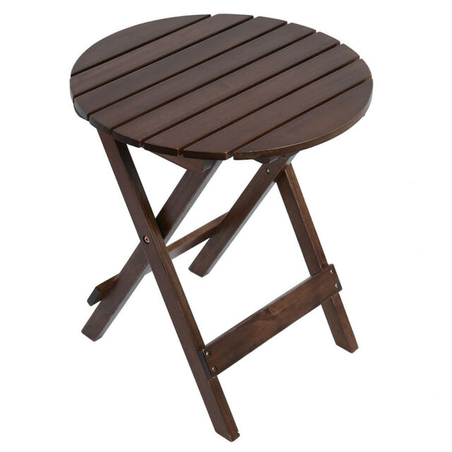 Small Wood Folding Table Outdoor Porch Garden Coffee Wooden Patio Living Room US For Sale Online