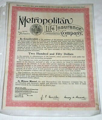 Metropolitan Life, Whole Life Insurance Policy, Issued in ...