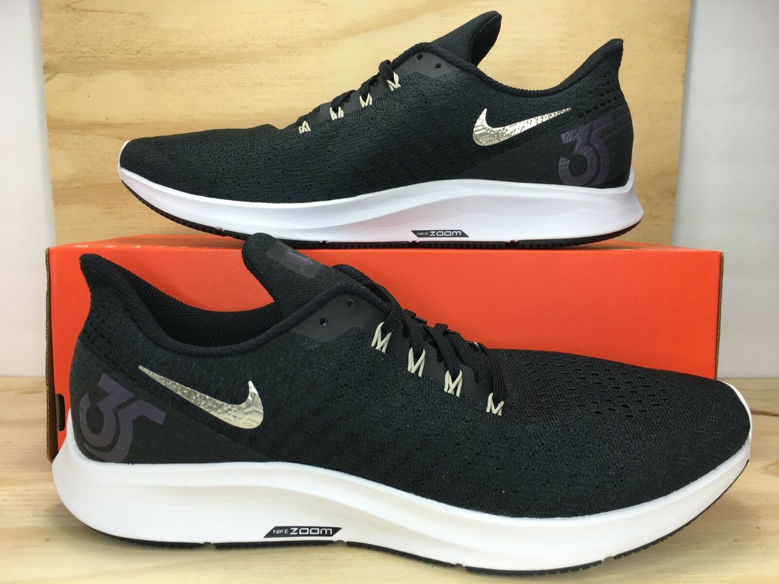 NIKE AIR ZOOM PEGASUS 35 ID Black White Men Running shoes Size 12 (AQ2792-991)