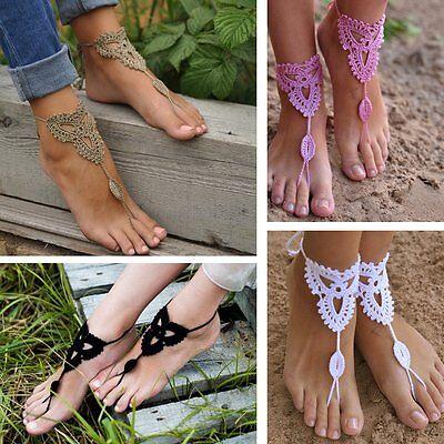 Barefoot Sandals Boho Crochet Cotton Foot Jewelry Anklet Bracelet Ankle Chain