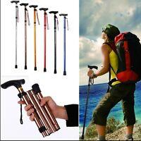Folding Handle Cane Adjustable Aluminum Stick Hiking Walking Trekking Travel