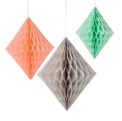 3 x Geo Peach, Mint & Grey Honeycomb Diamond Hanging Paper Decadent Decorations