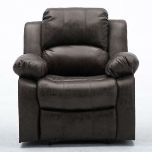 Leather Recliner Chair Manual Adjustable Overstuffed Sofa Heavy Duty Structure