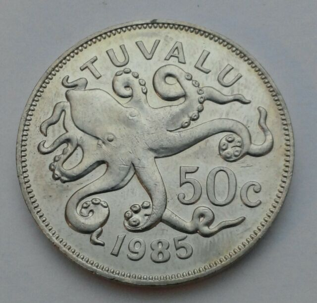 50 CENTS UNC COIN 1985 YEAR KM#6 OCTOPUS TUVALU