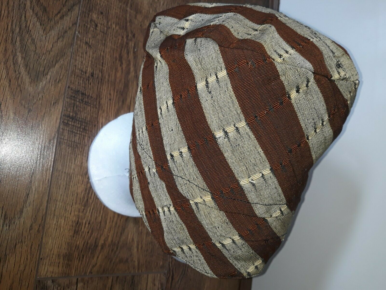 Traditional African Hat, Light brown and dark brown, Unisex, Size 7 3/4 or L/XL