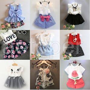 Toddler-Kids-Baby-Girls-Outfits-Clothes-T-shirt-Tops-Pants-Shorts-Skirt-2PCS-Set