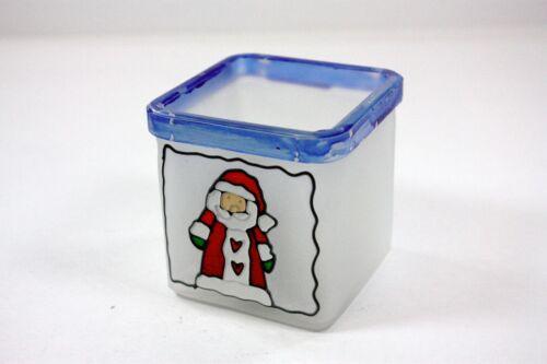 HEAVY FROSTED GLASS VOTIVE HOLDER SQUARE DESIGN BLUE RIM HAND PAINTED SANTA