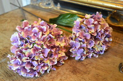 Bunch of 3 Pretty Antique Purple Hydrangeas, Artificial Luxury Silk Flowers