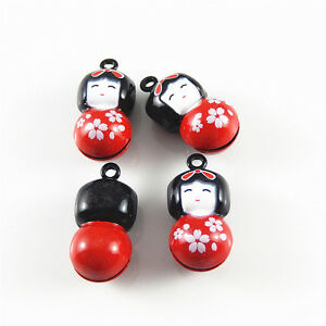 8x-Mixed-Colors-Enamel-Alloy-Japan-Bell-Girl-Shaped-Pendants-Charms-Crafts-52435