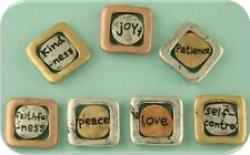 2 Hole Beads Engraved Word Mini Squares 3T~joy love peace patience~Sliders 7 pc
