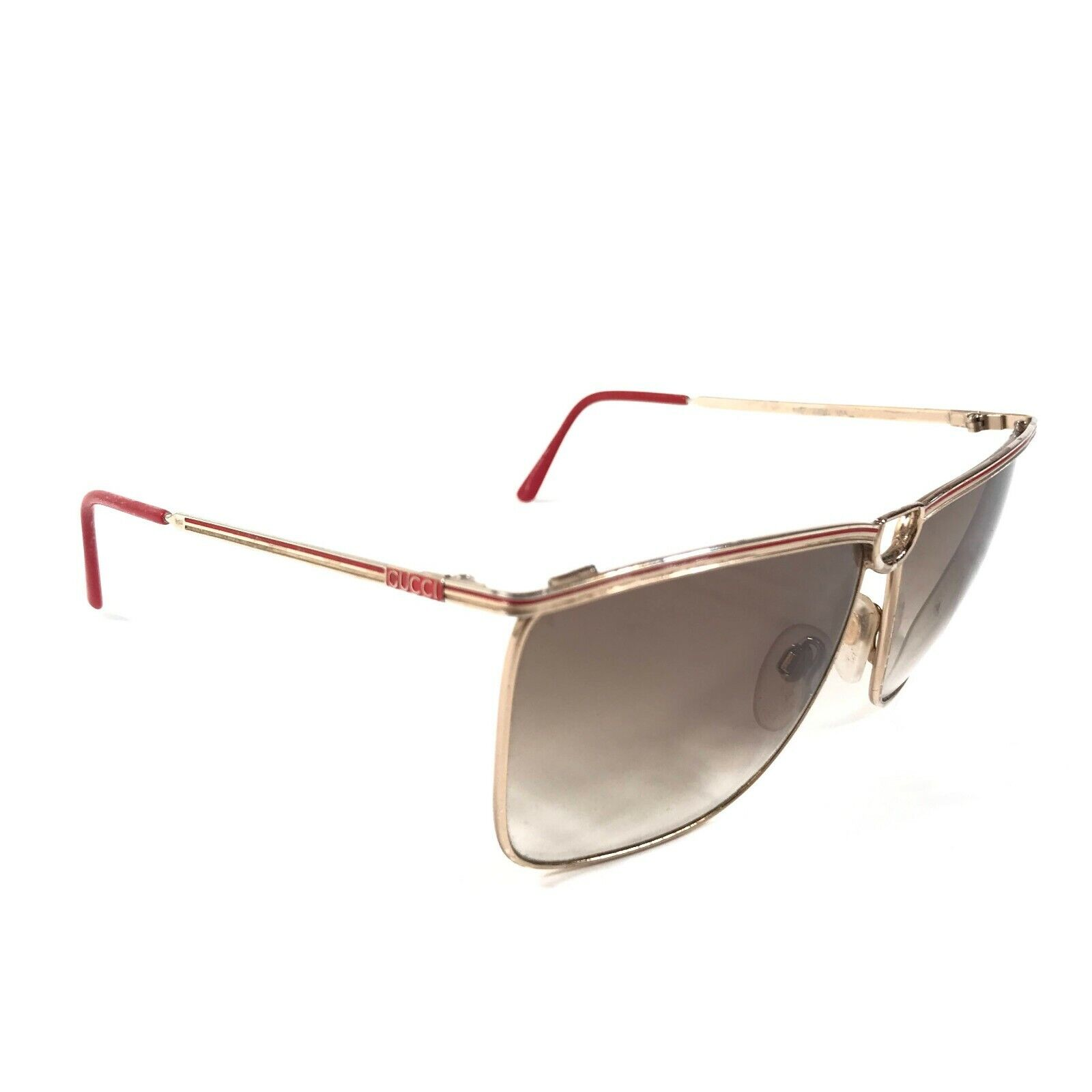 Vintage Gucci Sunglasses 70s 80s Gold Red Logos B… - image 1