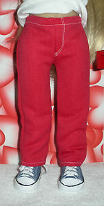 Fits-18-Inch-Kidz-039-n-039-Cats-Doll-Girl-Cut-Red-Fly-Front-Jeans-D986