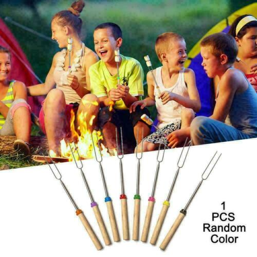 BBQ Barbecue Forks Marshmallow Roasting Sticks Telescoping H2A1 UK Smores I8C4
