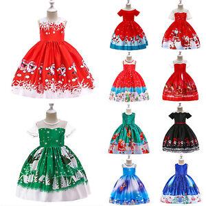 Girls Christmas Xmas Gown Ball Dress Wedding Princess Bridesmaid Party Birthday