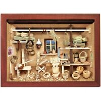 German 3d Wooden Shadow Box Picture Diorama Basket Weaver Weaving Workshop