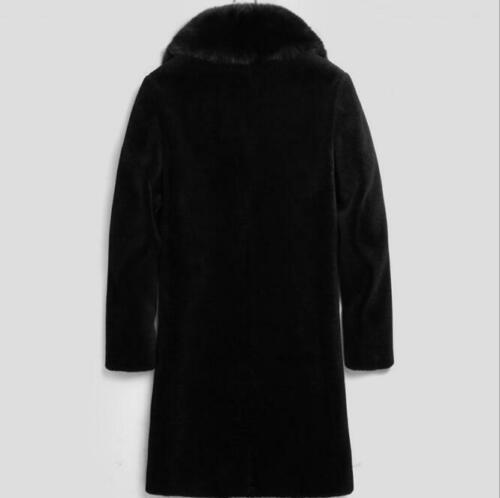 Winter Faux Mink Fur Collar Trench Coat Men/'s Cashmere Overcoat Jacket Outwear