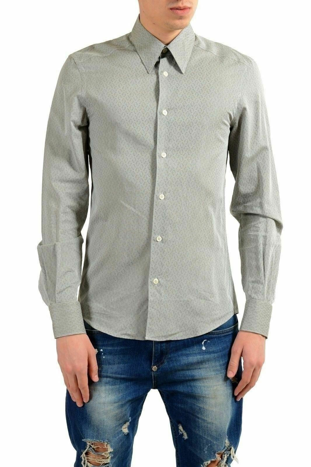 Versace Collection   Tendenza   Uomo Grigio Abito Manica Lunga Camicia USA 15