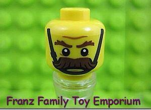Lego 5 New Yellow Minifigures Head Gray Eyebrows Raised Bushy Moustache Wrinkles